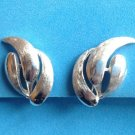 "VINTAGE SILVER TONE SHINY & TEXTURED CLIP ON EARRINGS 1 1/8"" X 3/4"""