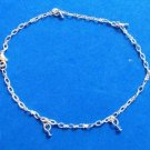 "DELICATE SILVER TONE PALE BLUE BEAD DANGLES 9"" ANKLET ANKLE BRACELET"