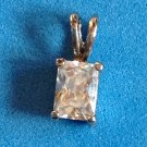 "SPARKLY EMERALD CUT CLEAR STONE SOLITAIRE IN SILVER TONE PENDANT  @ 1/2"" X 1/4"""