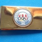 USA OLYMPICS MONEY CLIP MARKED 36USC380 GOLD TONE WITH LOGO VG CONDITION