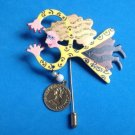 """ROSS"" FLYING LADY HAND PAINTED DANGLING COIN 2 1/4"" STICK PIN 2 1/2"" X 1 1/2""LADY"