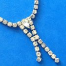 "VINTAGE RHINESTONE CHOKER NECKLACE WITH DOUBLE DANGLE 15"" X 1/4"" - NICE!!"