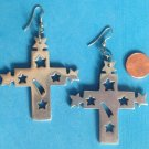 "3 1/2"" X 2 1/4"" BIG CROSS WITH SHOOTING & CUT OUT STARS PIERCED EARRINGS LGHT WT"