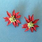 "PRETTY POINSETTIA PIERCED STUD EARRINGS 1"" IN DIAMETER . SOOOO FESTIVE !!"
