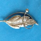 "VERY ART DECO TEXTURED SILVER TONE LEAF SWIRL PIN 2 1/2"" X  1 1/4"""