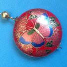 "1 3/4"" DIAMETER LARGE CLOISONNÉ 2 SIDED BUTTERFLY FLOWER PENDANT RED PINK BLUE"