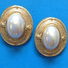 "BOLD & ELEGANT GOLD TONE WITH WHITE PEARL PIERCED EARRINGS @ 1 1/2"" X 1 1/4"""