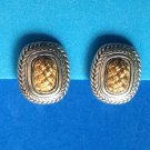 "VINTAGE SOPHISTICATED GOLD & SILVER TONE WOVEN DESIGN CLIP ON EARRINGS I"" X 7/8"""