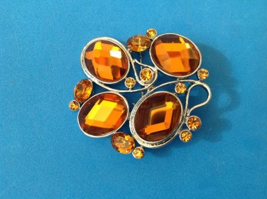 """EYE CATCHING FACETED ORANGE GLASS SILVER TONE MODERN ABSTRACT PIN 2"""" x 1 3/4"""""""