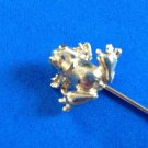 "FUN HOPPING FROG GOLD TONE STICK PIN 2 3/4"" LONG, 1/4"" X 5/8"" FOR THE FROG"