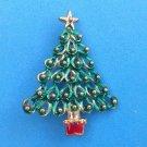 "VINTAGE ELEGANT CHRISTMAS TREE PIN GOLD TONE GREEN & RED ENAMEL - 2 1/8"" X 1 5/8"