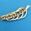 "GOLD TONE WITH RHINESTONES LEAF BARRETTE @ 2"" X 3/4"""
