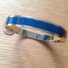"DUSTY NAVY BLUE & GOLD TONE BANGLE BRACELET 3/8"" X 7.5"" V.G. CONDITION"
