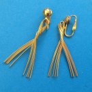 "GOLD TONE DANGLING WIRE FORM CLIP ON EARRINGS 2"" X 1"""