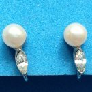 "PRETTY LITTLE PEARL & RHINESTONE CLIP ON EARRINGS 1/2"" X 1/4"""