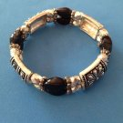 "PRETTY SILVER TONE & BLACK BEAD STRETCHY BRACELET @ 1/2"" WIDE. VERY NICE !!"