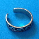 "PRETTY SILVER TONE WITH BLACK ENAMEL OPEN RING 3/16"" X SIZE 7 ADJUSTABLE"