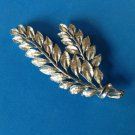 """STAR"" DOUBLE LEAF BRANCH DESIGN SILVER TONE PIN 3"" X 1 3/8"". VERY PRETTY"