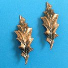 "VINTAGE TEXTURED COPPER LEAF CLIP ON EARRINGS @ 2"" X 3/4"""