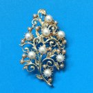 "VINTAGE GOLD TONE PEARLS & LEAVES FEMININE PIN LARGE!! 2 3/4"" X 1 3/4"""