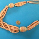 "CORAL COLORED CERAMIC BEADED 2, 4, 5 STRAND STATEMENT NECKLACE 30"" LONG"