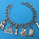 "SWEET ""I LOVE MY DOG"" SILVER TONE CHARM BRACELET - 7 1/2"" LONG"