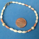 "VINTAGE GOLD FILL MOP MOTHER OF PEARL & CORAL BEADED BRACELET 8"" X 1/4""WIDEST PT"