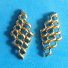 "STYLIZED DESIGN GOLD TONE SHINY PIERCED EARRINGS 1 1/2"" X 3/4"""
