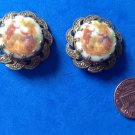 "VINTAGE COLONIAL COUPLE CAMEO CLIP ON EARRINGS PATTERNED DULL GOLD SET. 1"" DIAM."