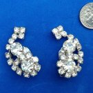 "VINTAGE LARGE SPARKELY RHINESTONE CLIP ON EARRINGS 1 1/2"" X 3/4"""