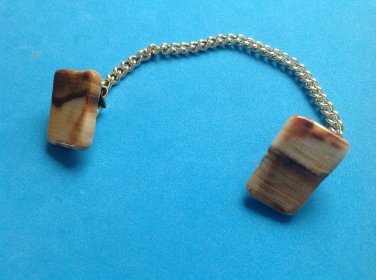 "MARKED GOLD FILL 1"" X 3/4"" BROWN STONE SWEATER CLIP GUARD 5 1/2"" CHAIN"