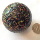 VINTAGE HUGE BLACK GLASS WITH MULTICOLORED TINY PIECES MARBLE - VERY UNUSUAL !!