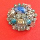 """VINTAGE MADE IN JAPAN SPARKLY BLUE BEADED PIN 1950's 1 3/4"""" DIAMETER"""