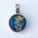 "Artist made pendant, silver & real dried flowers  - 1"" x 5/8"",  too sweet."