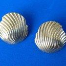 """Monet pierced earrings, gold tone swirl design  7/8"""" x 3/4""""."""