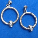 "Hoop dangle pierced earrings, silver tone & rhinestone, 1 3/8"" long x 7/8"" diam."