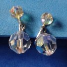"Crystal clip earrings, Aurora Borealis. Vintage, hanging 1"" x 3/8"" ."