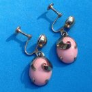 "Screw earrings, coral plastic, hanging, Art Deco - gold tone 1 3/8""."