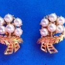 "Clip earrings, gold tone faux pearl  1"" x 5/8"". Vintage."