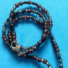 """Sterling silver earth tone beaded necklace 24"""" long x 1/8""""."""
