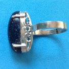 Druzy, silver tone ring, midnight blue milky way - size 6.