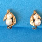 "Clip earrings, rhinestone & pearl, gold tone  1/2"" x 1/4""."