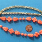 """Sarah Coventry necklace coral plastic, lightweight 24"""" x 1/2""""."""