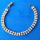 "Double strand rhinestones bracelet 7"" long - delicate."