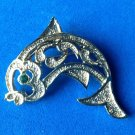 "Gerry's fish pin gold tone, green eye 2"" x 1 1/2"". Vintage."
