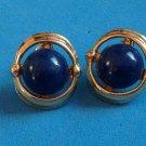"""Navy blue pierced earrings, gold tone 3/4"""" x 3/8""""."""
