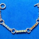 Sterling silver link bracelet, multi stone toggle clasp - well made.