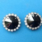 "Clip Hematite Rhinestone earrings with faceted Hematite center - 3/4"" diameter."
