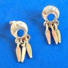 """Multi colored dangle pierced earrings, pastel swirl enamel.  USA, 1 3/8"""" x 1/2""""."""