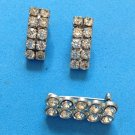 Rhinestone clip earrings & pin - double row of stones. A vintage  set.
